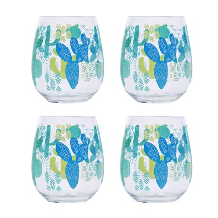 Mainstays Cactus Stemless Wine Glass, Set of 4 ()
