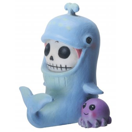3 Inch Furrybone Moby The Whale Figurine With Octopus  Blue Purple