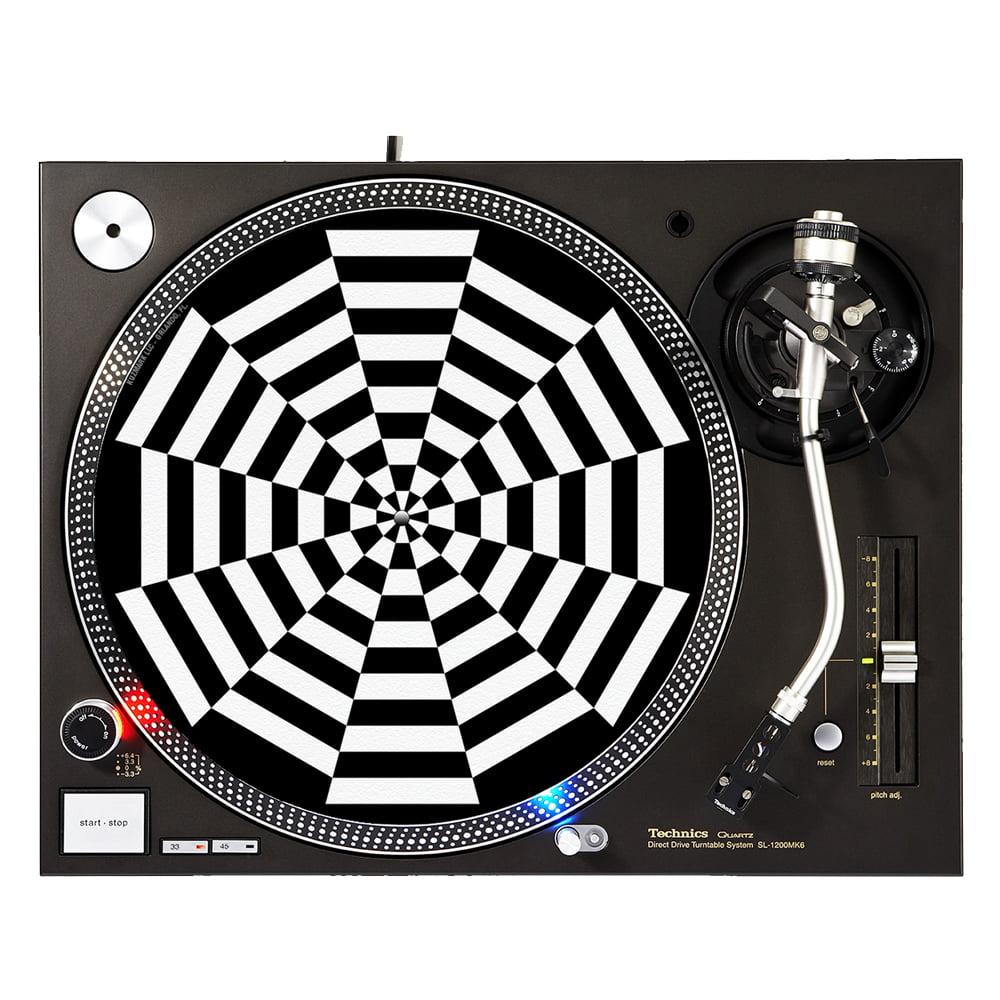 "KuzmarK™ 12"" DJ Turntable Slipmat - Caution Web"