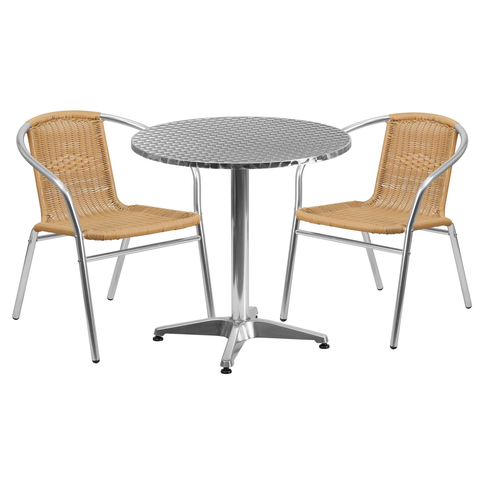 Flash Furniture 27.5'' Round Aluminum Indoor-Outdoor Table with 2 Rattan Chairs, Multiple Colors
