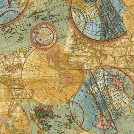 By Timeless Treasures - Library~World Map~Globe Metallic Cotton Fabric by Timeless Treasures
