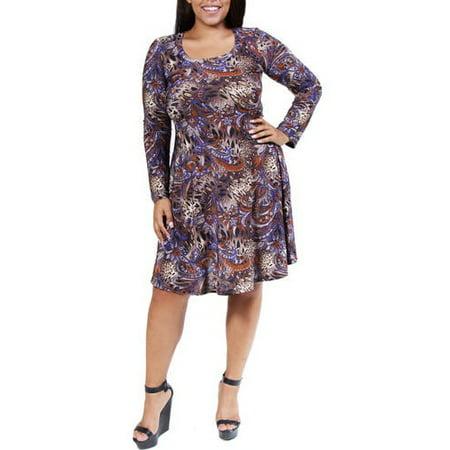 24/7 Comfort Apparel - Women\'s Plus Size Animal Paisley Print Dress ...