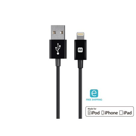Monoprice Essentials Apple MFi Certified Lightning to USB Charge & Sync Cable, 10ft Black, iPhone X 8 8 Plus 7 7 Plus 6s 6 SE 5s, iPad, Pro, Air 2 compatible ()