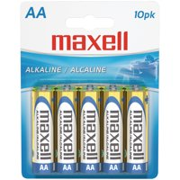 Maxell 723410 AA Alkaline Batteries, 10-Pack, Carded