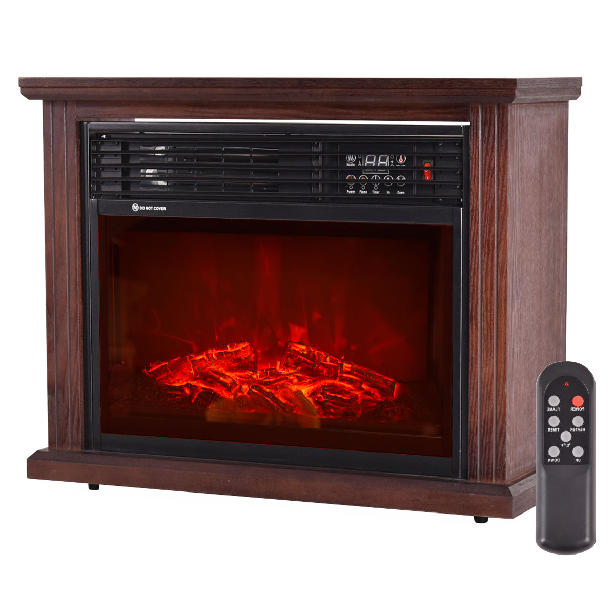 GHP 3D Patented Flame Technology Free-Standing Black Glass Electric Fireplace Heater