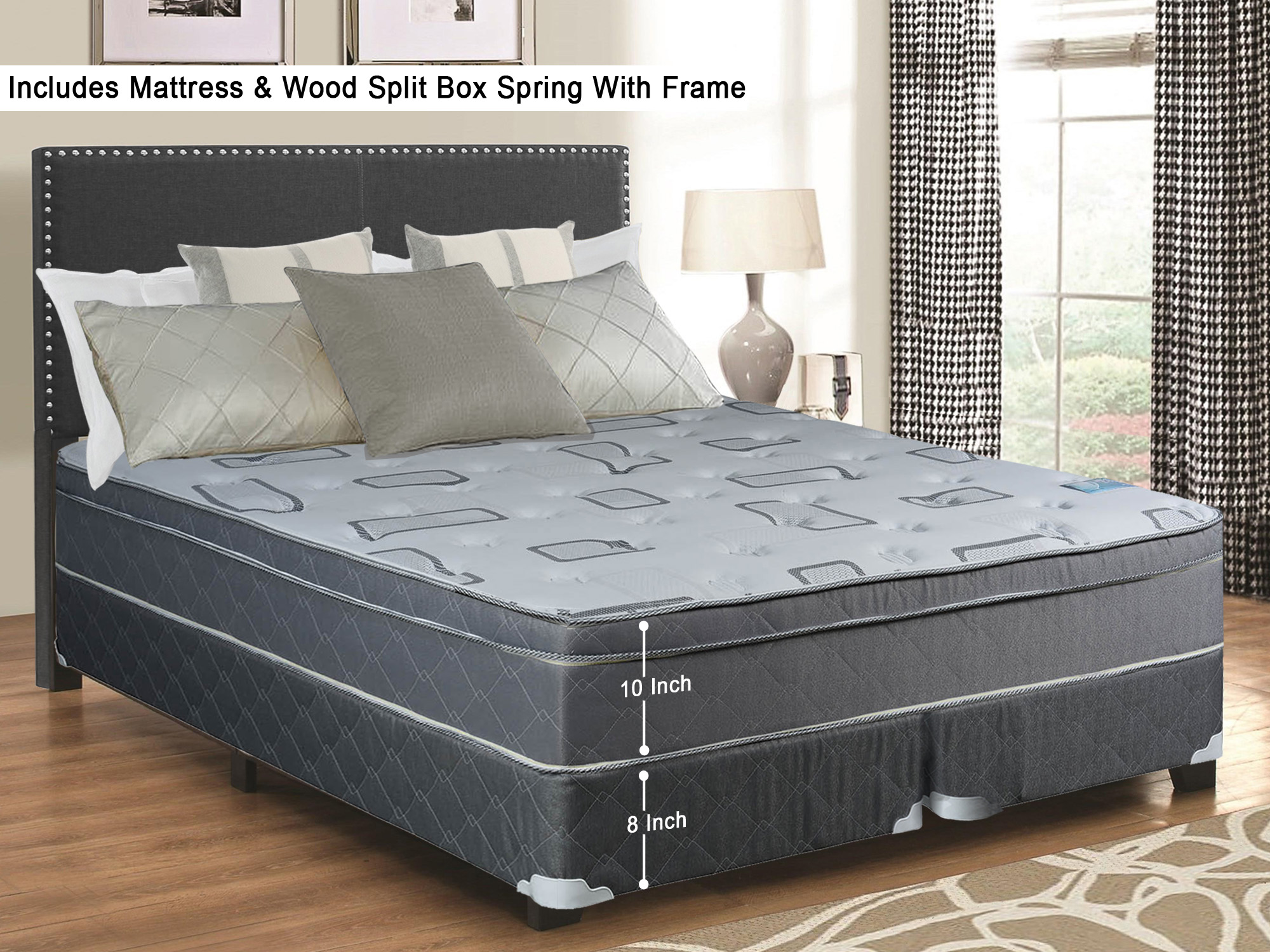 Twin Size 74 x 38 10-Inch Meduim Firm Foam Encased Hybrid Eurotop Pillowtop Innerspring Mattress And Split Wood Traditional Box Spring//Foundation Set Continental Sleep