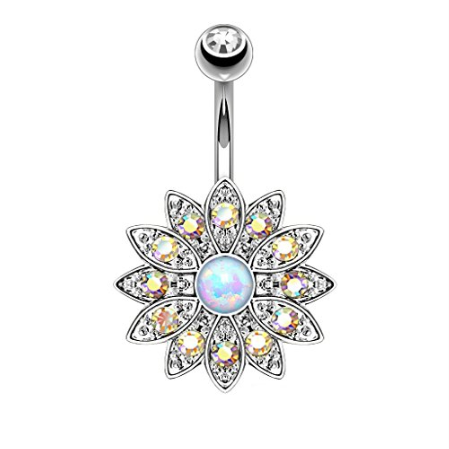 BodyJ4You® Belly Button Ring Opal Flower Aurora Jeweled Piercing Jewelry 14G