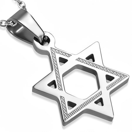 Stainless Steel Silver-Tone Classic Jewish Star of David Pendant Necklace, 19.5