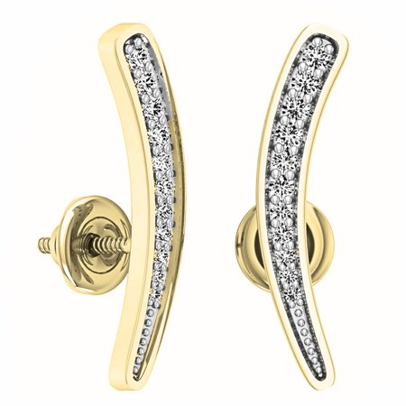 0.10 Carat (ctw) 18K Yellow Gold Round Cut White Diamond Ladies Curved Bar Ear Climber Earrings