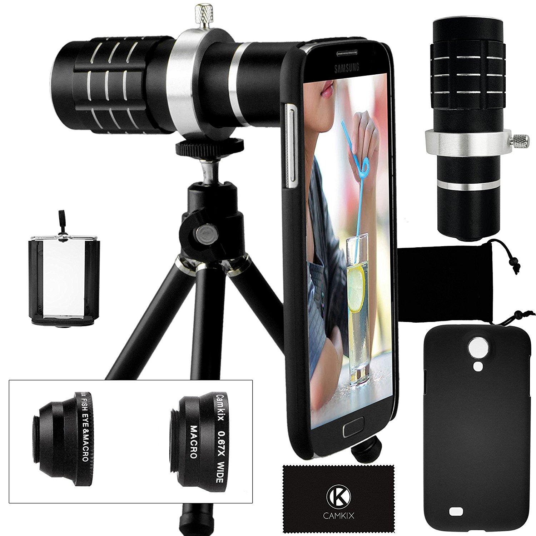 Camkix Samsung Galaxy S4 Camera Lens Kit including a 12x Telephoto Lens / Fisheye Lens / 2 in 1 Macro Lens and Wide Angle Lens / Mini Tripod / Universal Phone Holder / Telephoto Lens Holder Ring
