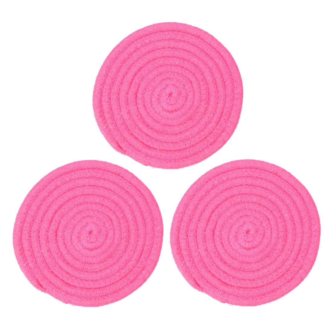 "Round Cotton Thread Weave Heat Resistant Mat 7"" Dia Placemat/Spoon Rest/Coasters Mats, Kitchen Dining Mats Pink 3pcs"