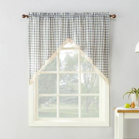 No. 918 Maisie Plaid Kitchen Curtain Swag Pair