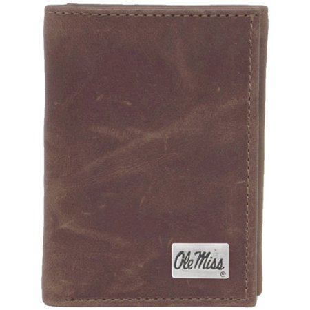 Mississippi Rebels Concho Leather Tri-Fold Wallet - Brown - No Size
