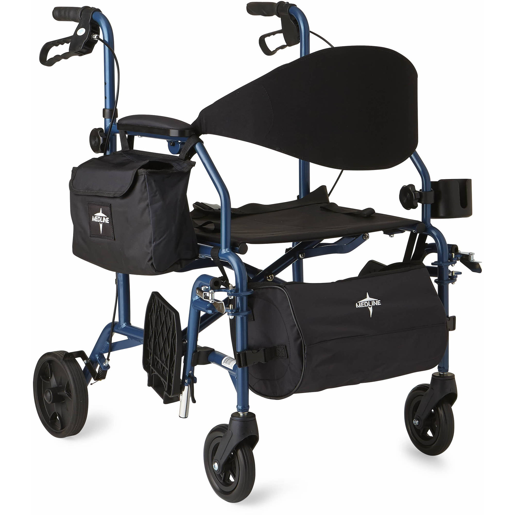 Medline bination Rollator Transport Wheelchair Blue Walmart