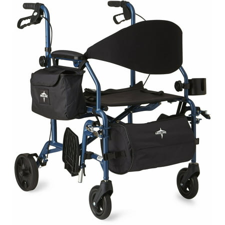 Medline Combination Rollator Transport Wheelchair Blue
