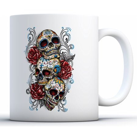 Awkward Styles Three Sugar Skull Mugs Skull Coffee Mug Skull Gifts Day of the Dead Party Supplies Dia de los Muertos Gifts Candy Skull Rose Eyes (Dia De Los Muertos Supplies)