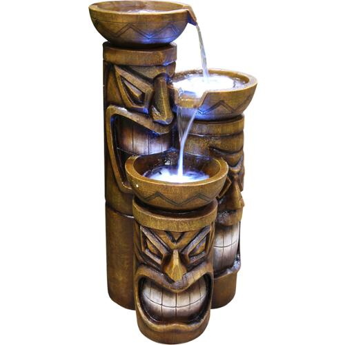 Alpine Decorative Indoor or Outdoor Tiki Fountain with LED Lights by Overstock