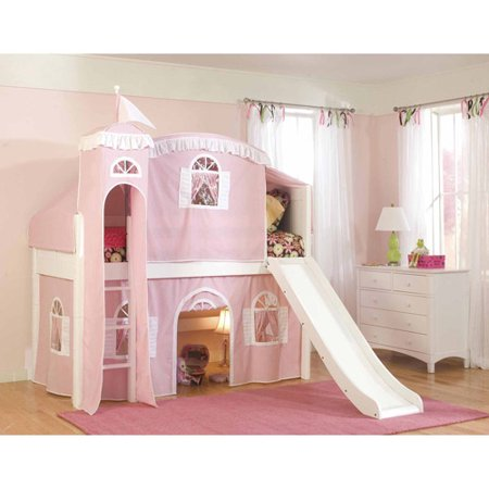 (Bolton Furniture Cottage Twin Loft Bed, White with Pink/White Tower, Top Tent Bottom Curtain and Slide)