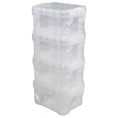 """Storage Studios Super Stacker Pixie Boxes 4/Pkg-2""""X2.5""""X3.4"""" Clear - image 1 de 1"""