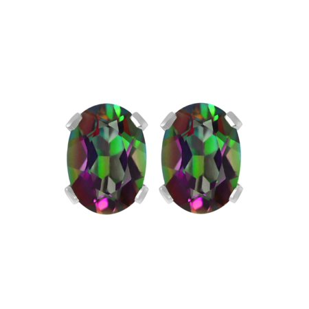 1.20 Ct Oval 6X4mm Green Mystic Topaz 925 Sterling Silver Stud Earrings