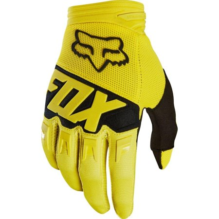 Dirtpaw Race Youth Boys Off-Road Motorcycle Gloves - Yellow / Medium, Conductive fabric - works with touch screen devices, Stretch polyester construction By Fox Racing from USA