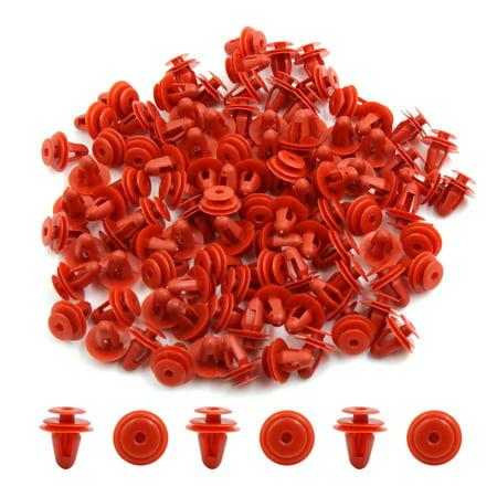 100Pcs Red Plastic Car Screw Rivet Fender Bumper Hood Retainer Clips 9mm Hole - image 1 of 2