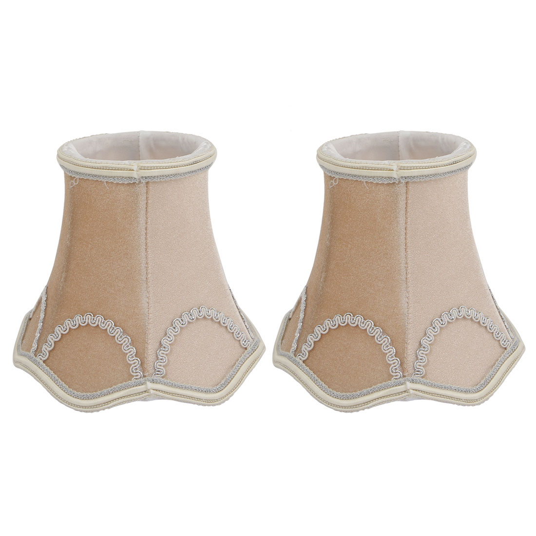 2pcs LightShade Small Bell Shape Chandelier Clip-On Lampshade Apricot by
