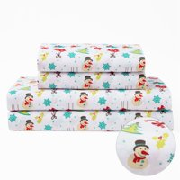 Full Microfiber Holiday Christmas Bedding Sheet Set Winter Snowman Holly Snowflake
