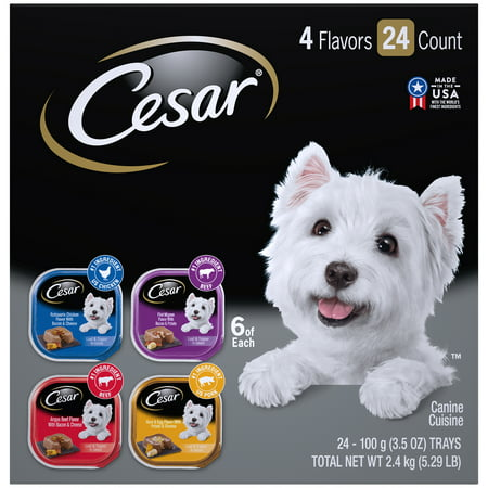 CESAR Wet Dog Food Loaf in Sauce Rotisserie Chicken, Filet Mignon, Angus Beef, and Ham & Egg Flavors Variety Pack, (24) 3.5 oz. Trays (Bravo Dog Food)