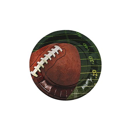 Fun Express - Football Dessert Plates (8pc) for Party - Party Supplies - Print Tableware - Print Plates & Bowls - Party - 8 Pieces - Football Desserts
