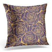 EREHome Black Gold Floral with Roses Pattern Purple Modern Pillow Case Pillow Cover 18x18 inch