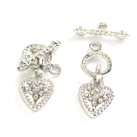 Cousin Rope & Heart Silver Toggle Clasps, 2 Piece