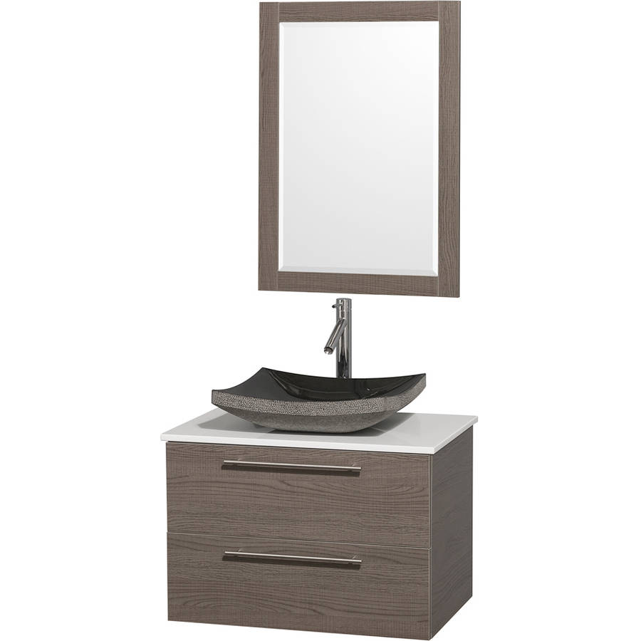 Wyndham Collection Amare 30 inch Single Bathroom Vanity in Gray Oak with White Man-Made Stone Top with Black Granite Sink, and 24 inch Mirror