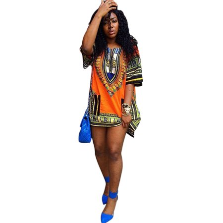 Nicesee Women's African Dashiki Kaftan Hippe Gypsy Dress
