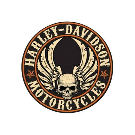 Harley-Davidson Embossed Flying Skull Button Round Tin Sign, 14 inch 2011281, Harley Davidson