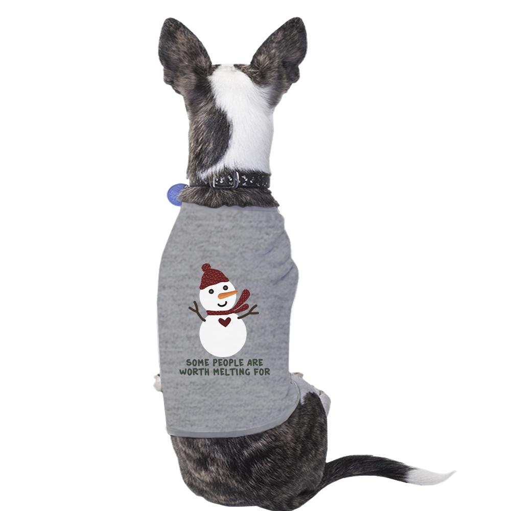 Worth Melting Snowman Pet T-Shirt Funny Holiday Gift For Dog Lovers