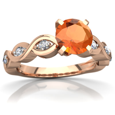 Fire Opal Infinity Engagement Ring in 14K Rose Gold