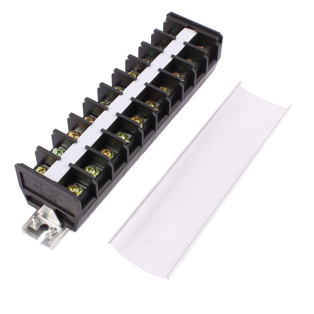 2pcs 660V 60A 2 rangée 10 Placer la vis du bornier Combinaison Rail DIN TD6010 - image 3 de 4