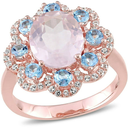 Tangelo 4-1/5 Carat T.G.W. Rose Quartz and Blue Topaz with White Topaz Rose Rhodium over Sterling Silver Flower Ring