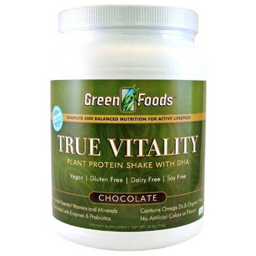Green Foods True Vitality Plant Protein Powder, Chocolate, 15g Protein, 1.6 Lb