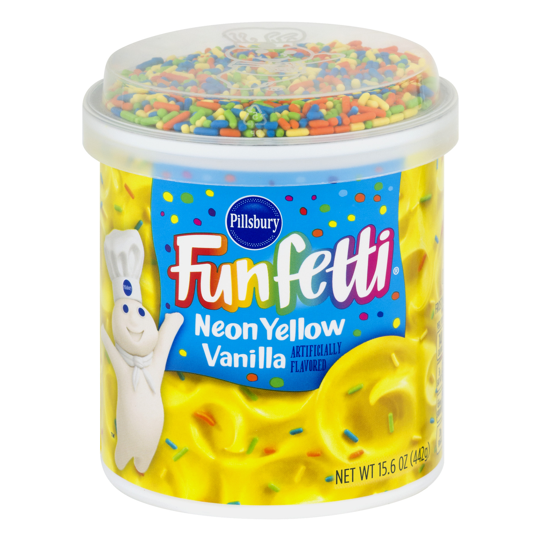 Pillsbury Funfetti Neon Yellow Vanilla Frosting, 15.6 oz