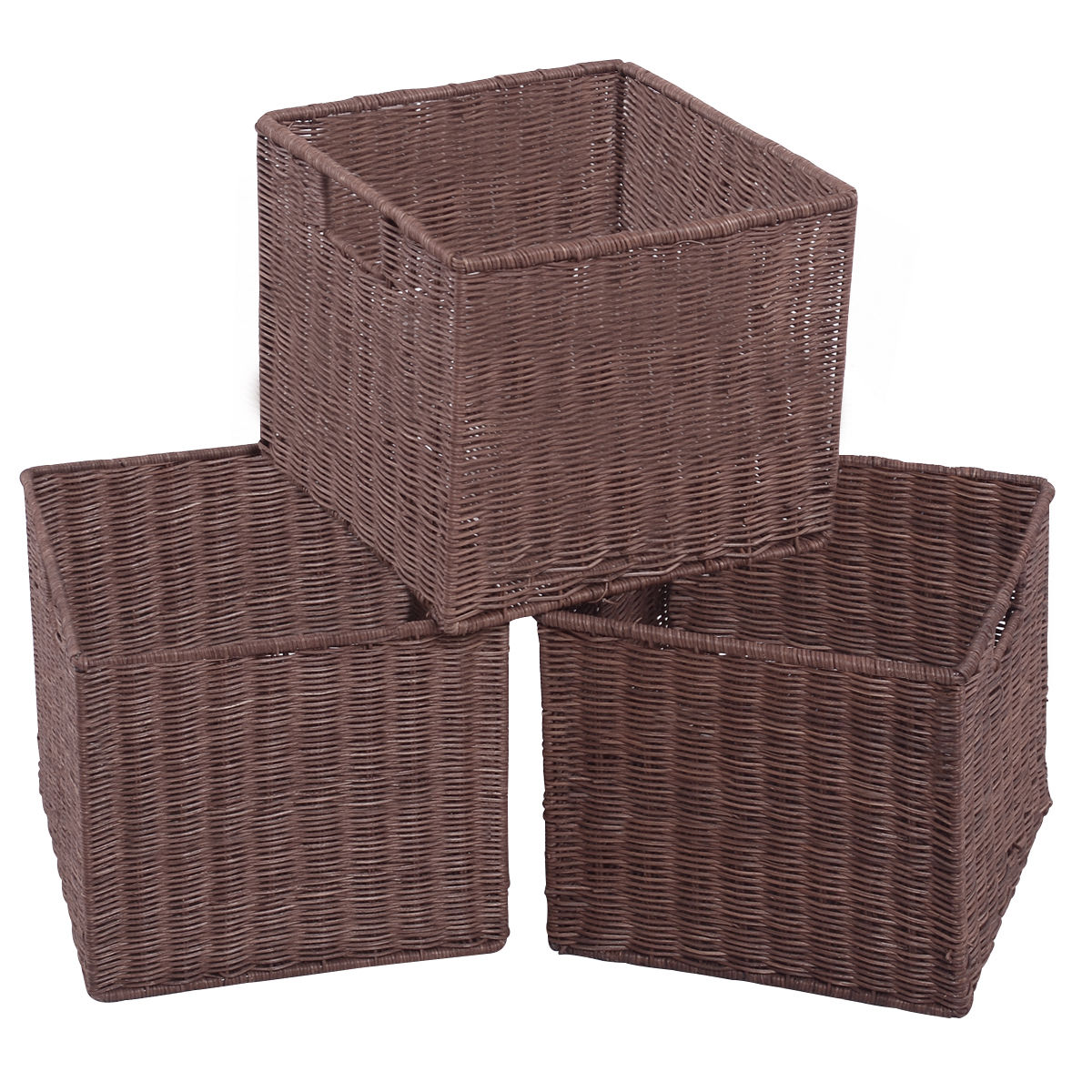 Gymax Set of 3 Wicker Rattan Storage Baskets Nest Nesting Cube Bin Box