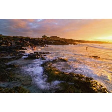 Posterazzi Kua Bay Beach At Sunset Kona Coast Kona Big Island Hawaii United States Of America Canvas Art   Philip Rosenberg  Design Pics  36 X 24