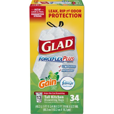 Glad ForceFlexPlus Tall Kitchen Drawstring Trash Bags - Gain Original with Febreze Freshness - 13 Gallon - 34 ct