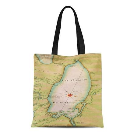 ASHLEIGH Canvas Tote Bag French of Lake Ontario School 17Th Carte Lac Toronto Reusable Handbag Shoulder Grocery Shopping Bags (Halloween Stores Ontario)