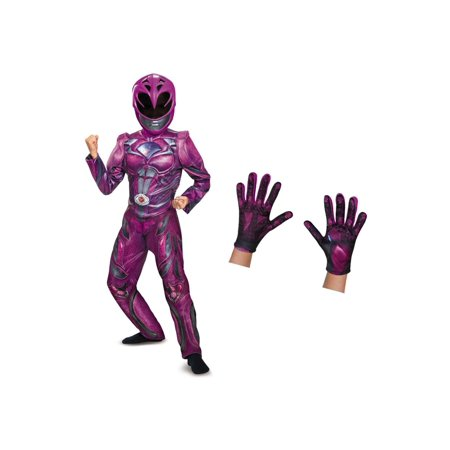 Pink Girl Costume (Girls Pink Ranger Movie Costume and Gloves)