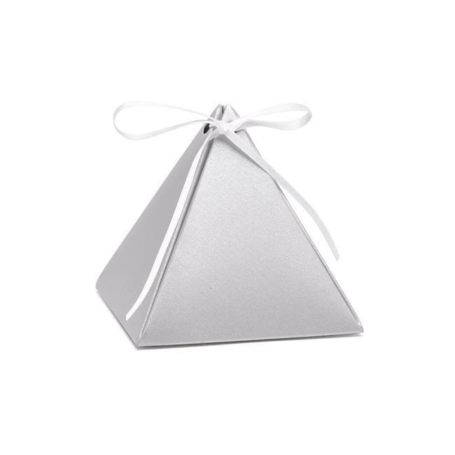 Hortense B. Hewitt 54878 Pyramid Favor Box - Silver Shimmer - Blank - Pack of 25 - image 1 of 1