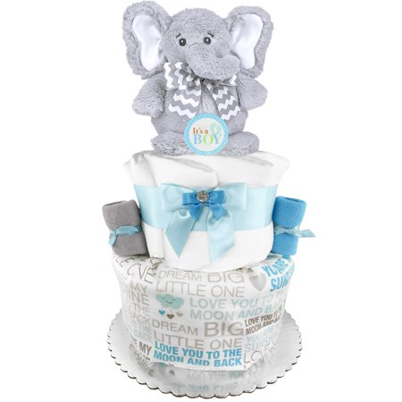 Elephant Diaper Cake - Baby Shower Gift - Baby Boy Gift - Blue and Gray