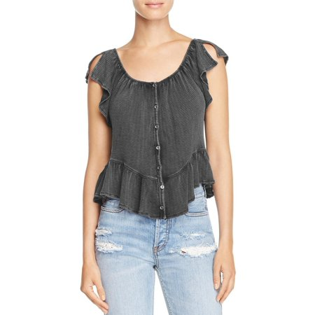 acd02c9109c Free People - FREE PEOPLE Womens Black Short Length Button Down Petal  Sleeve Off Shoulder Peasant Top Size: M - Walmart.com