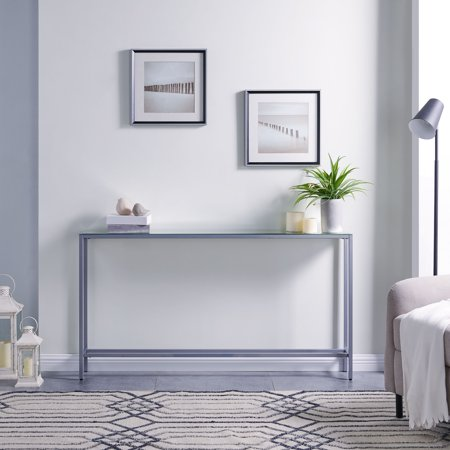 Darrin Narrow Long Console Table w/ Mirrored Top](Mirror Table)